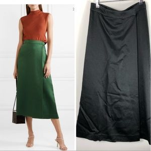 Theory Draped Skirt Effect Wide Leg Pants Satin